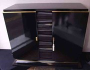 French  Deco Black Laquered Side Cabinet