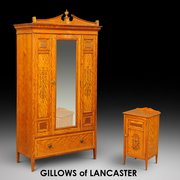 Gillows of Lancaster Satinwood Wardrobe and Bedsid