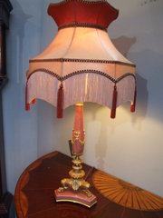 Gilt Metal Mounted Pink Marble Table Lamp