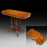 High Victorian Burr Walnut Card Table
