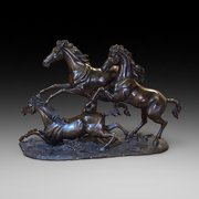 Large 19th Century Bronze Equestrian Group