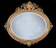 Large Mid 19th Century Oval Gilt Mirror