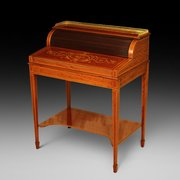 Late Victorian Mahogany Inlaid Cylinder Desk