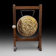 Late Victorian Oak Framed Brass Dinner Gong