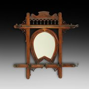 Late Victorian walnut hanging hall mirror
