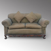 Mahogany Framed 2 Seater Drop End Settee