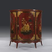 Mid 19thC Chinoiserie Lacquered Demi Lune Cabinet
