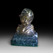 Minature Bronze Bust of a Young Lady