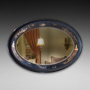 Oval Mirror with Japanned Decoration