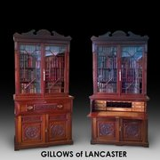 Pair L 19thC walnut Gillows secretaire bookcases