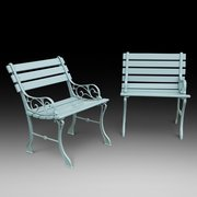 Pair of 1930's Cast Iron Garden Seats