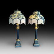 Pair of American brass and marble lamp