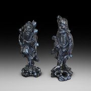 Pair of Early 20thC Chinese Hardwood Carvings