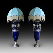 Pair of Edwardian Blue Glazed Pottery Lamps