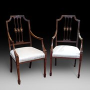 Pair of Edwardian Inlaid Mahogany Salon Chairs