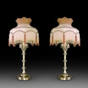 Pair of French Gothic Style Brass Candlestands