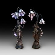 Pair of French Spelter Figurine Table Lights