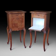 Pair of French Walnut Bedside Cabinets