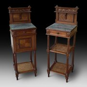 Pair of French Walnut Late 19thC Bedside Cabinets