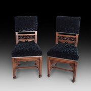 Pair of Gothic revival oak chairs