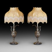 Pair of Late 19thC gilt ewer lights