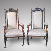 Pair of Late Regency Rosewood Throne Chairs