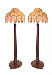 Pair of Mahogany Standard Lights