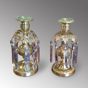 Pair of Parcel Gilt Candlestick Lustres