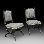 Pair of Pugin Style Gothic Revival Ebonised Chairs
