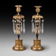 Pair of Regency Bronze and Gilt Bronze Lustres