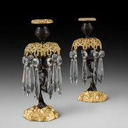 Pair of Regency Bronze and Gilt Bronze Lustres