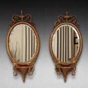 Pair of Regency Oval Girandole Wall Mirrors