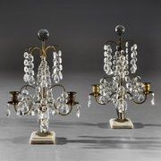 Pair of Victorian Candlestick Lustres