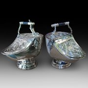 Pair of Victorian Pressed Brass Coal Dispensers