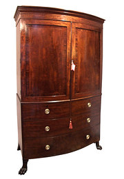 Regency Mahogany Bow Front Linen Press