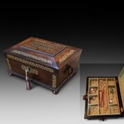 Regency Rosewood and Brass Inlaid Jewellery Box