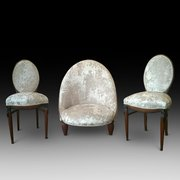 Set of 3 French Art Deco Boudoir Chairs