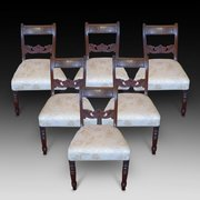 Set of Six 6 Early Victorian Dining Chairs