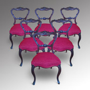 Set of Six Victorian Rosewood Dining Chairs