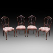Set of four late Victorian salon chairs
