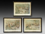 Set of three Victorian colour engravings by Charles Hunt