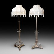 Pair of Victorian Brass Adjustable Standard Lamps