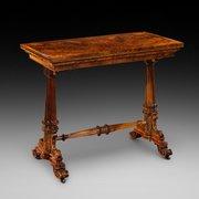 Victorian Burr Walnut Fold Over Card Table
