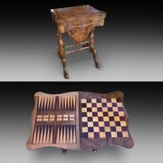 Victorian Burr Walnut Sewing and Games Table