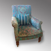 Victorian Ebony Upholstered Armchair