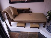 Victorian Walnut Chaise Lounge.
