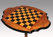 Victorian Walnut Pedestal Chess Table
