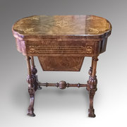 Victorian burr walnut combined games and worktable