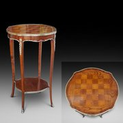 Victorian rosewood and satinwood chess table