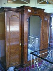Victorian Burr Walnut Triple Wardrobe